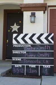 Cute Star is Born Hollywood Baby Shower Clapboard idea for the front of the house.