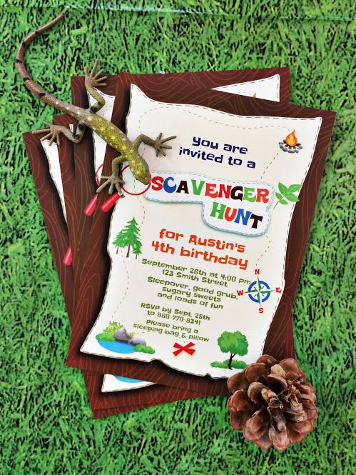 A Scavenger Hunt Birthday Party Candles and Favors – Treasure Hunt Party Invitations