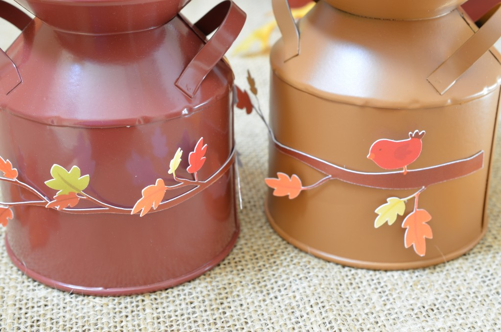 Scarecrow tin cans with branch
