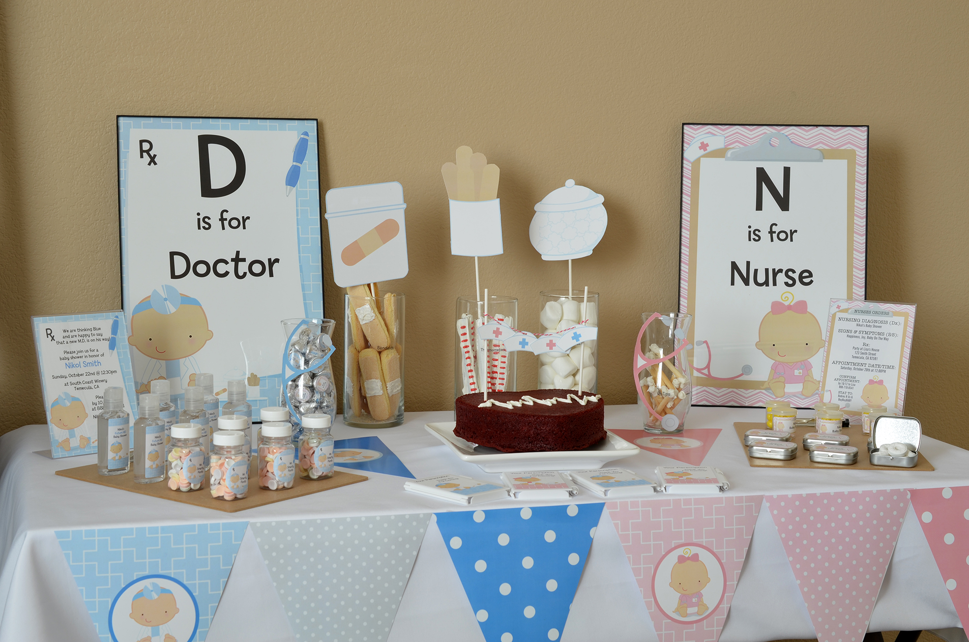 Little Doctor Nurse On The Way Baby Shower Theme Candles And Favors