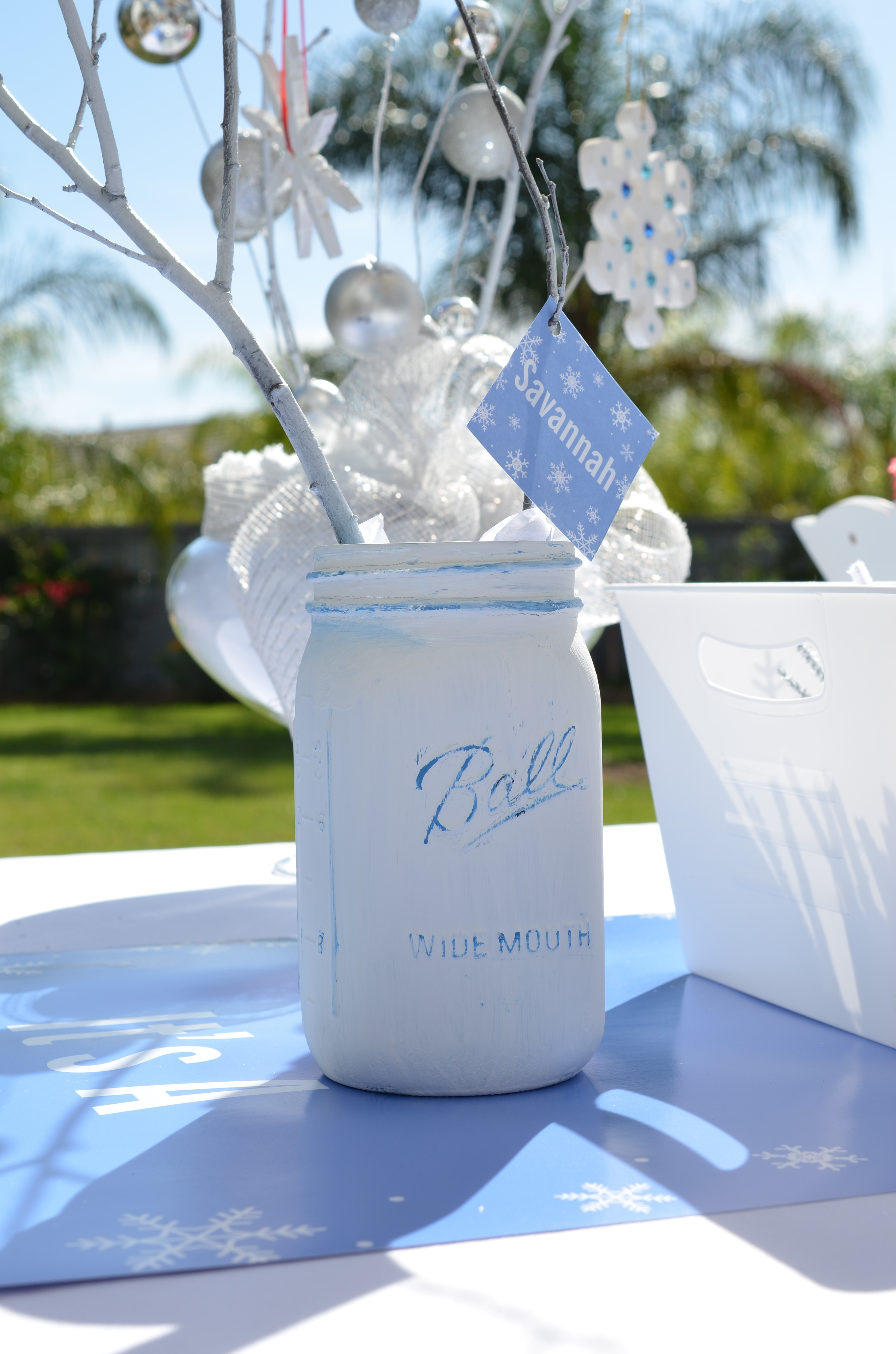 Snowflake Party Mason Jar Centerpiece Candles And Favors