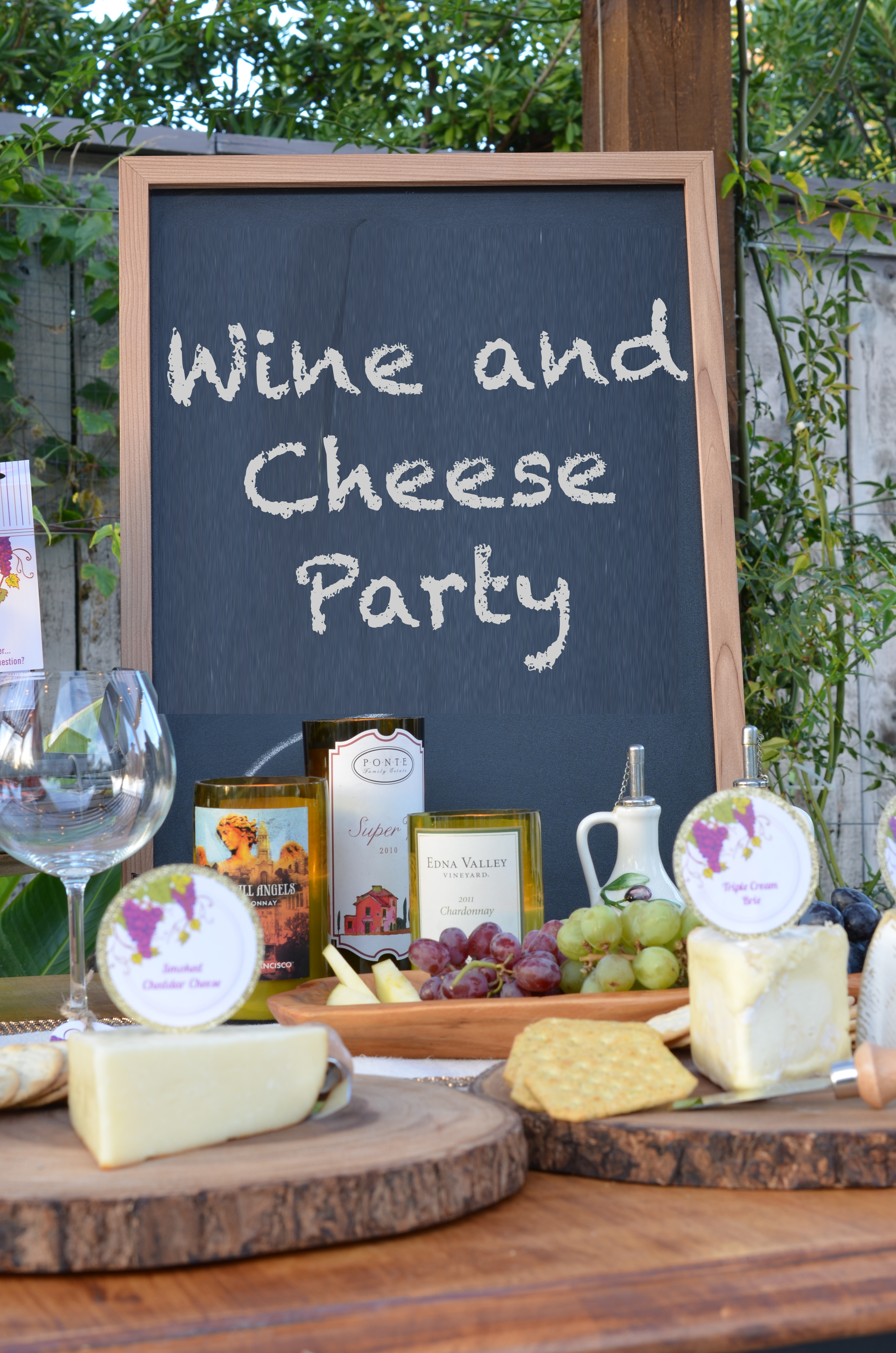 wine cheese party candles and favors