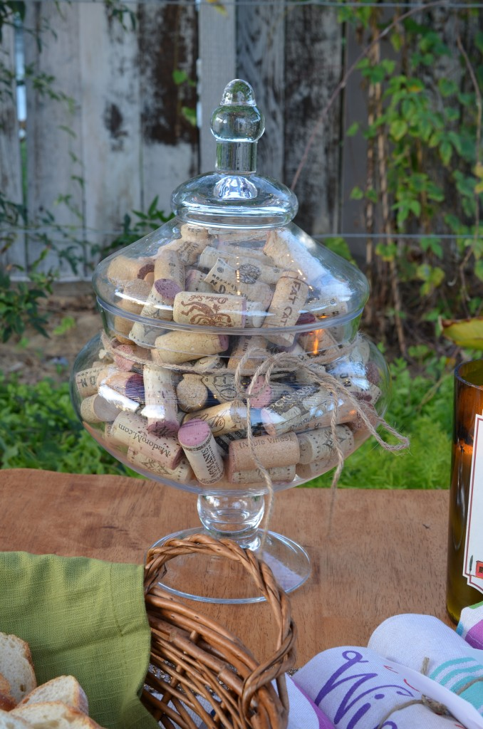 wine and cheese party centerpiece of corks