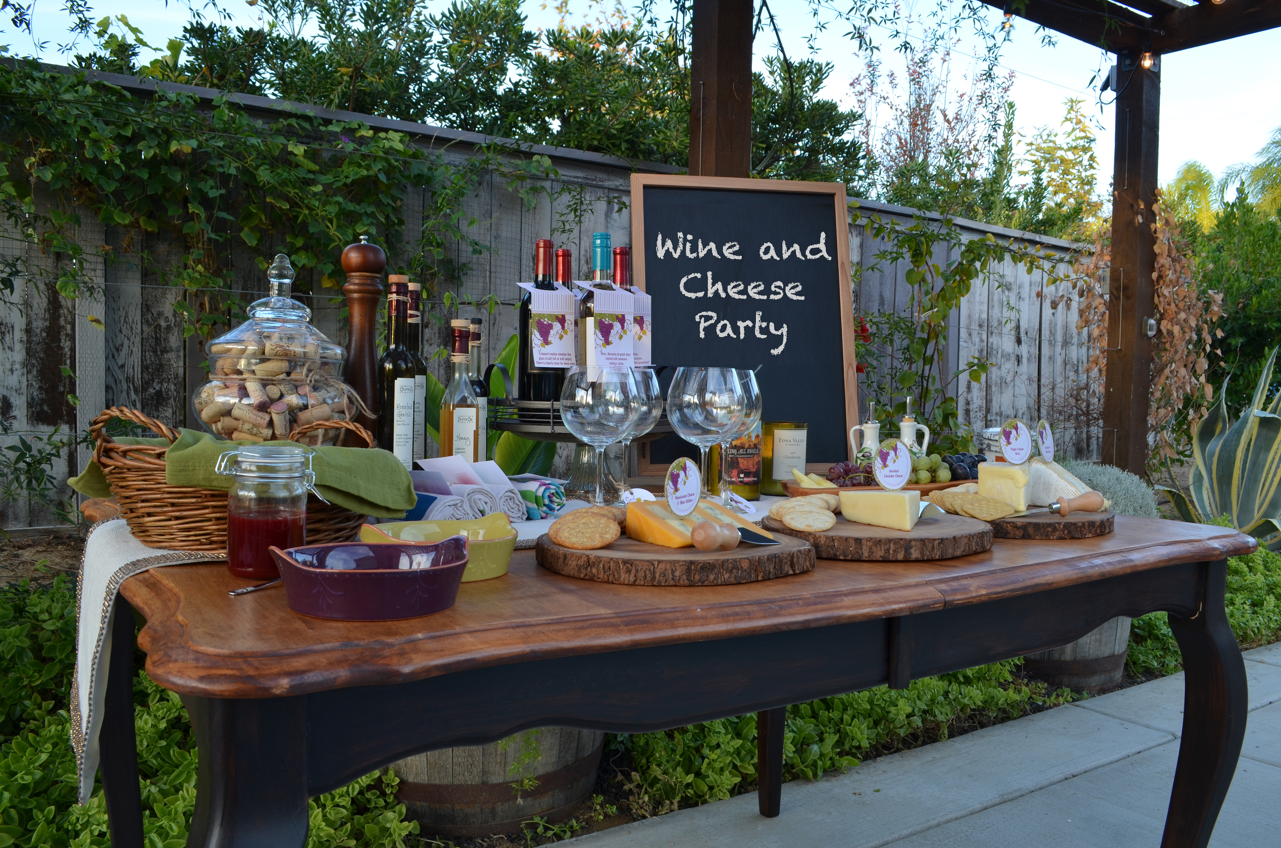 Wine cheese party candles and favors for Home party plans