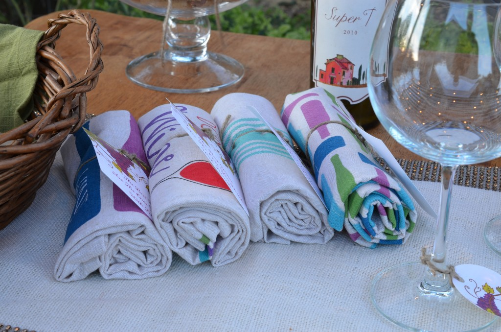 wine and cheese party towel favors