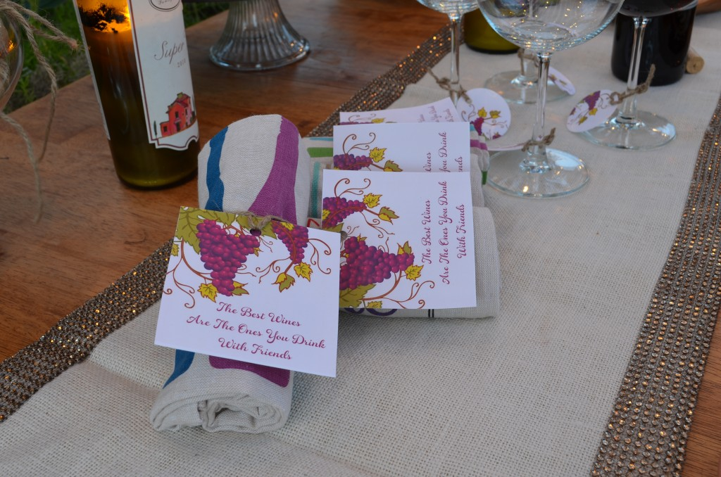 wine and cheese party upclose of tag for wine towels