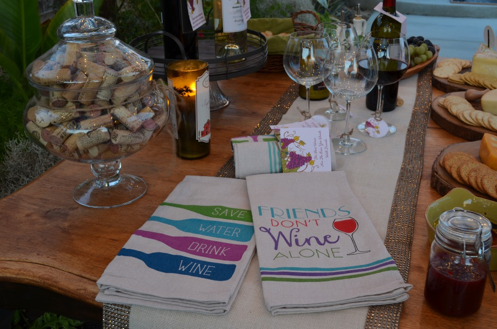 wine and cheese party uplcose of towels from home goods