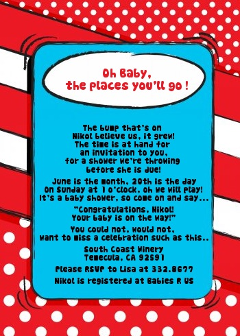 Dr. Seuss inspired baby Shower Invitations