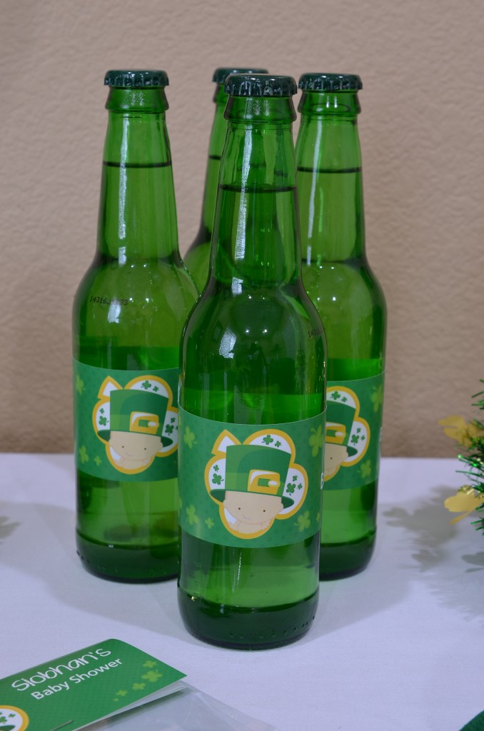 st patricks baby shower beverage wraps