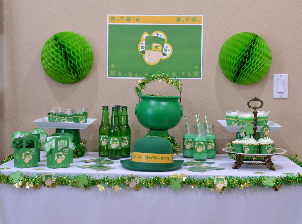 st patricks baby shower full table