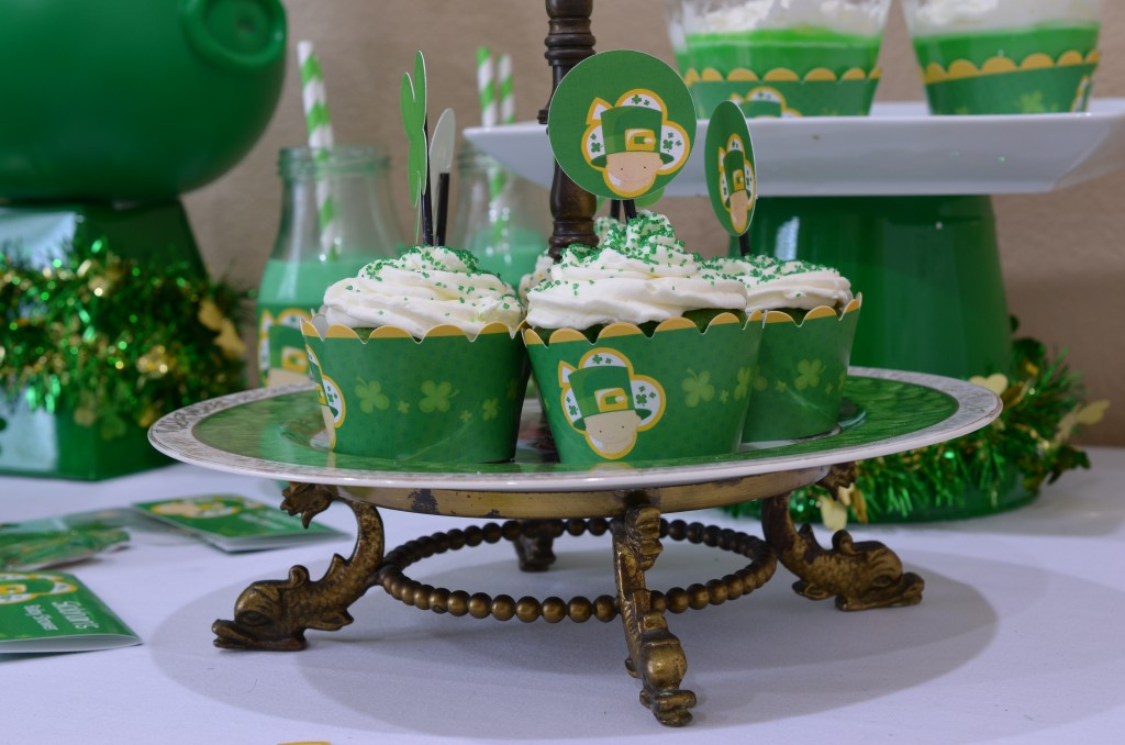 st patricks baby shower upclose of cupcake wrappers