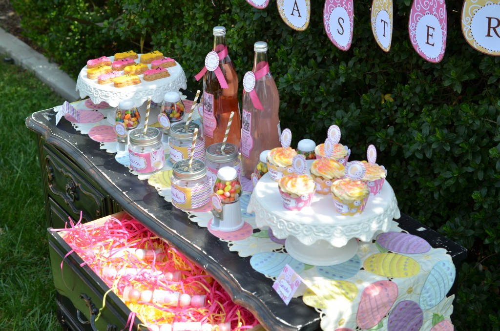 easter party food and favor table