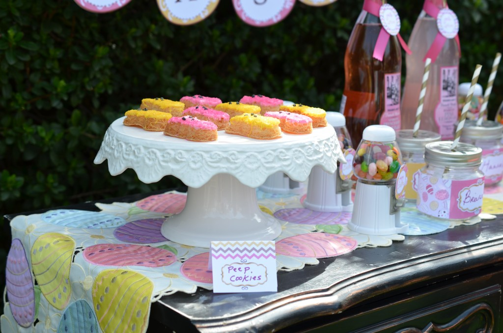 easter party food tent for peep cookies