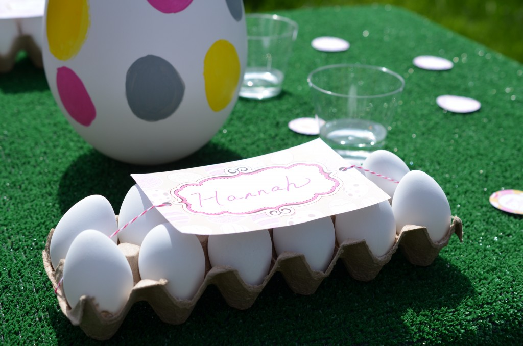 easter party invitation used on egg carton