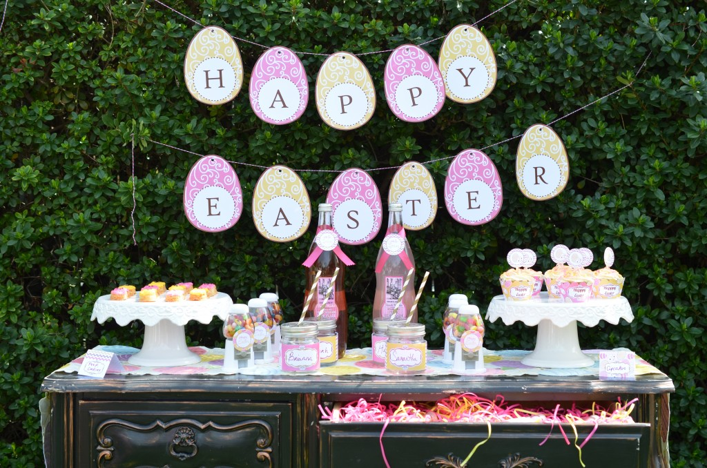 easter party table display with banner