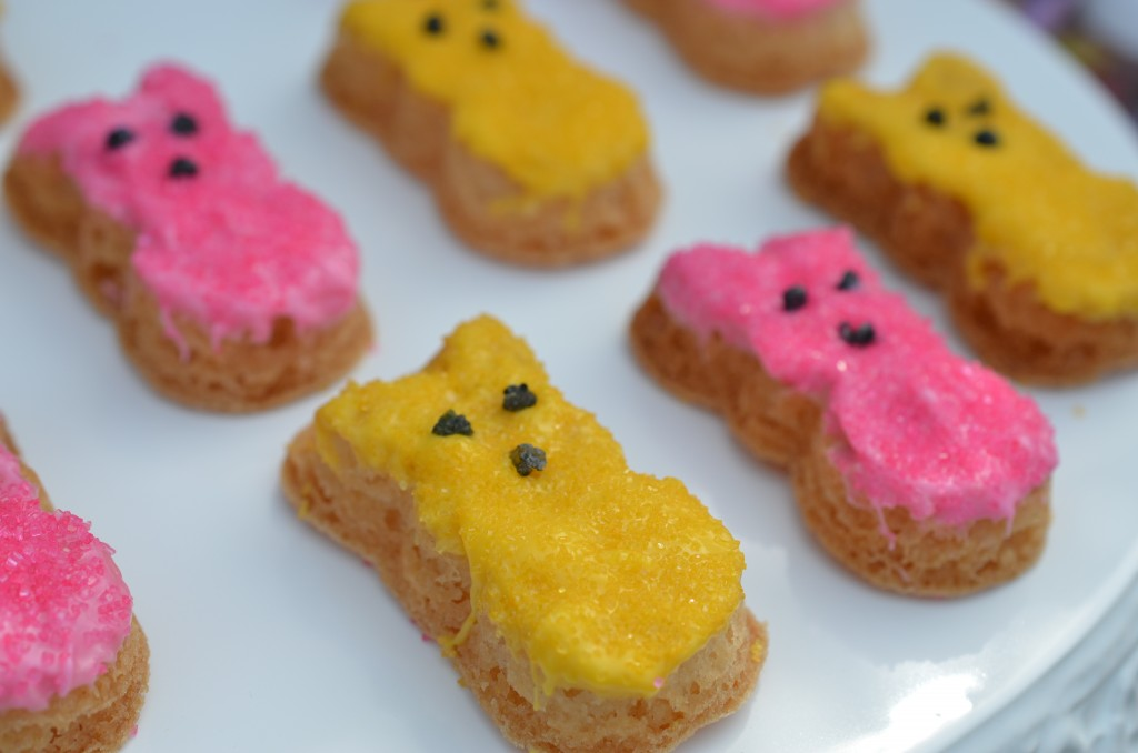 easter party up close of peep cookies