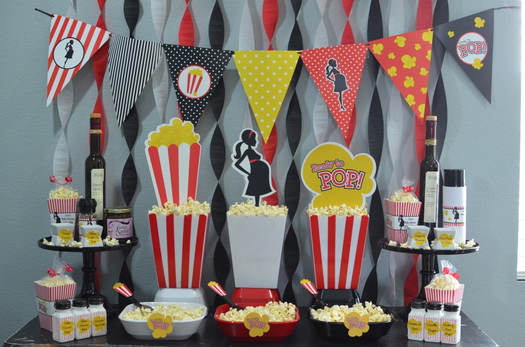Ready To Pop Baby Shower Red - pennat triangles for decoration