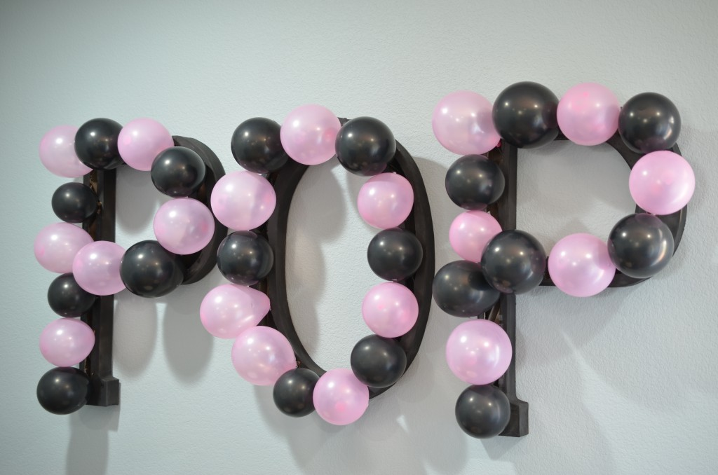 Ready To Pop Baby Shower Pink POP balloon wall art