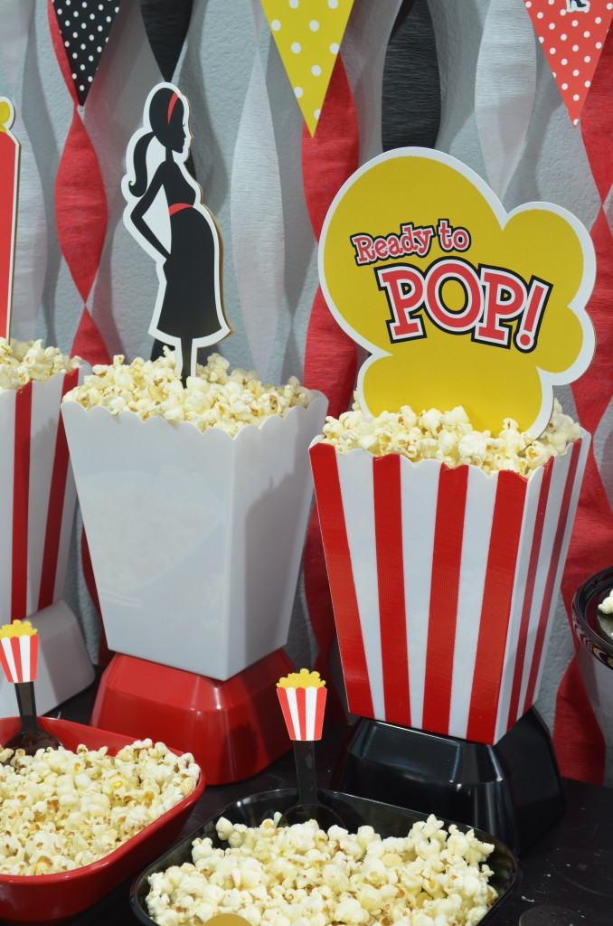 Ready To Pop Baby Shower Red - custom popcorn container made with red duct tape