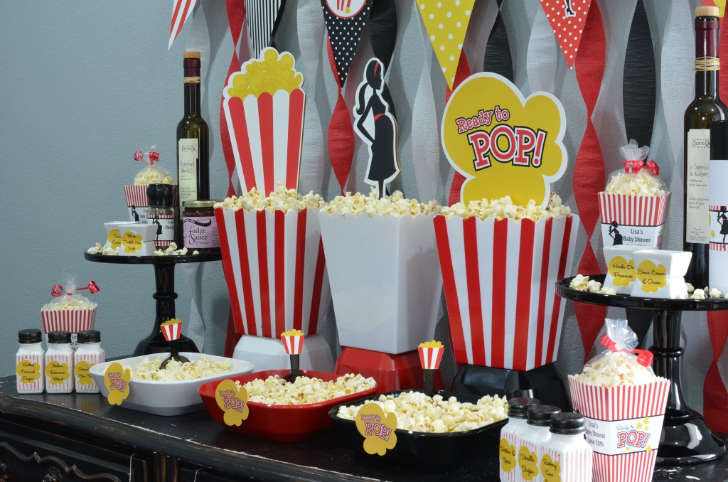 Ready To Pop Baby Shower Red - cut out used as popcorn box decor