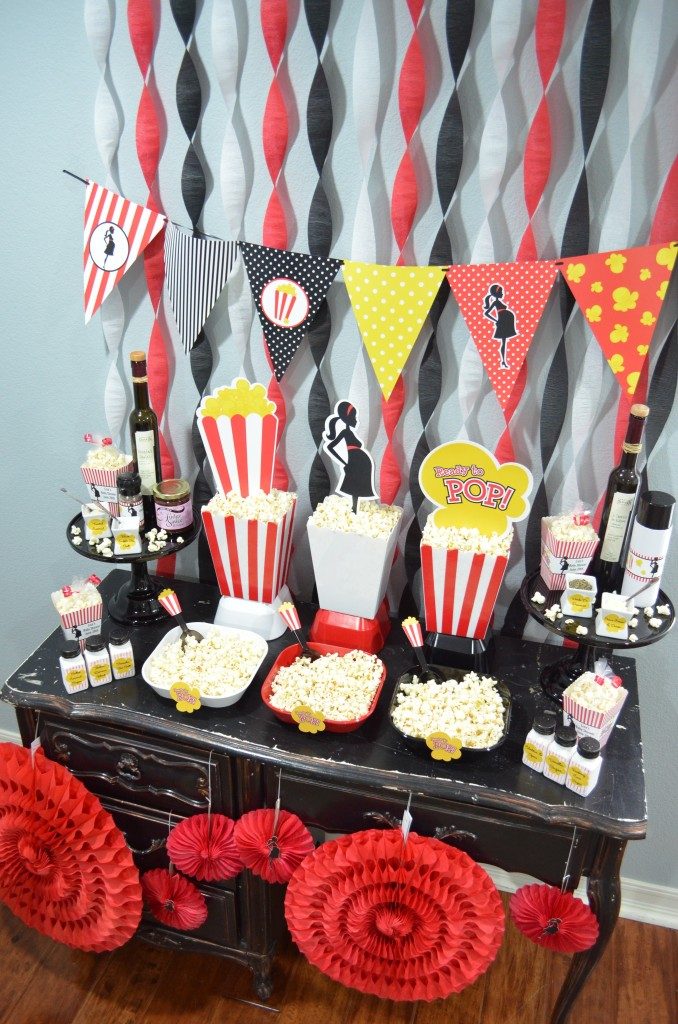 Ready To Pop Baby Shower Red - downview image of popcorn party