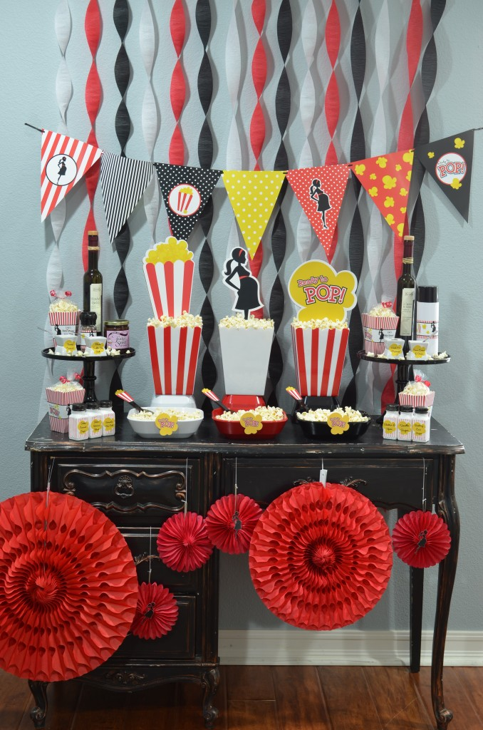 Ready To Pop Baby Shower Red - full display of party
