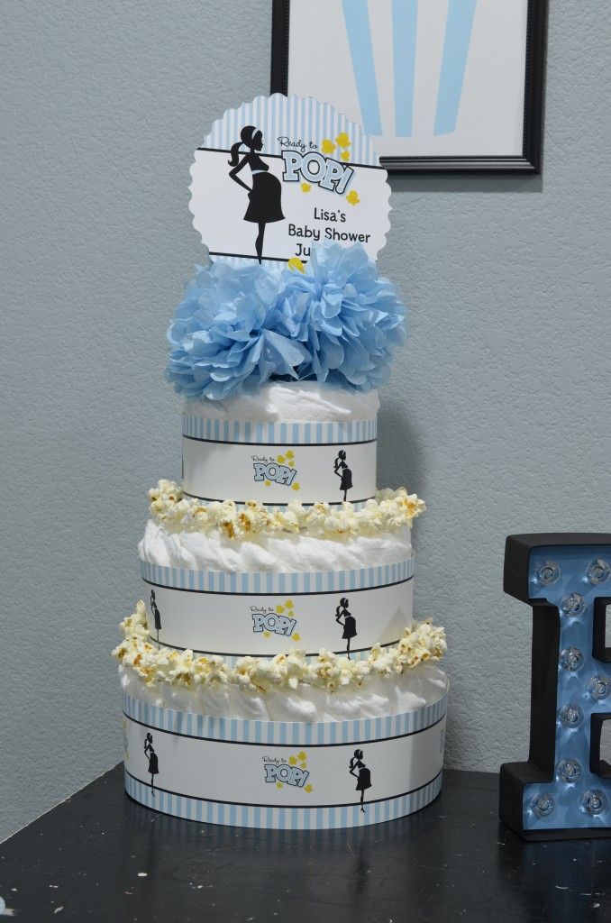 Ready To Pop Blue Diaper Cake