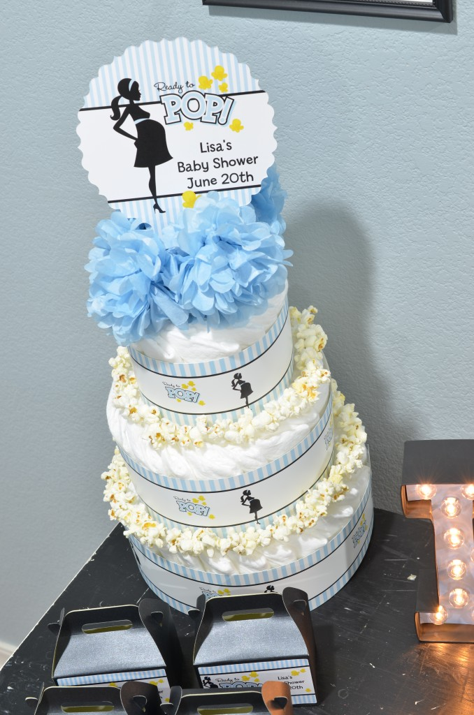 Ready To Pop Blue Diaper Cake with Centerpiece topper