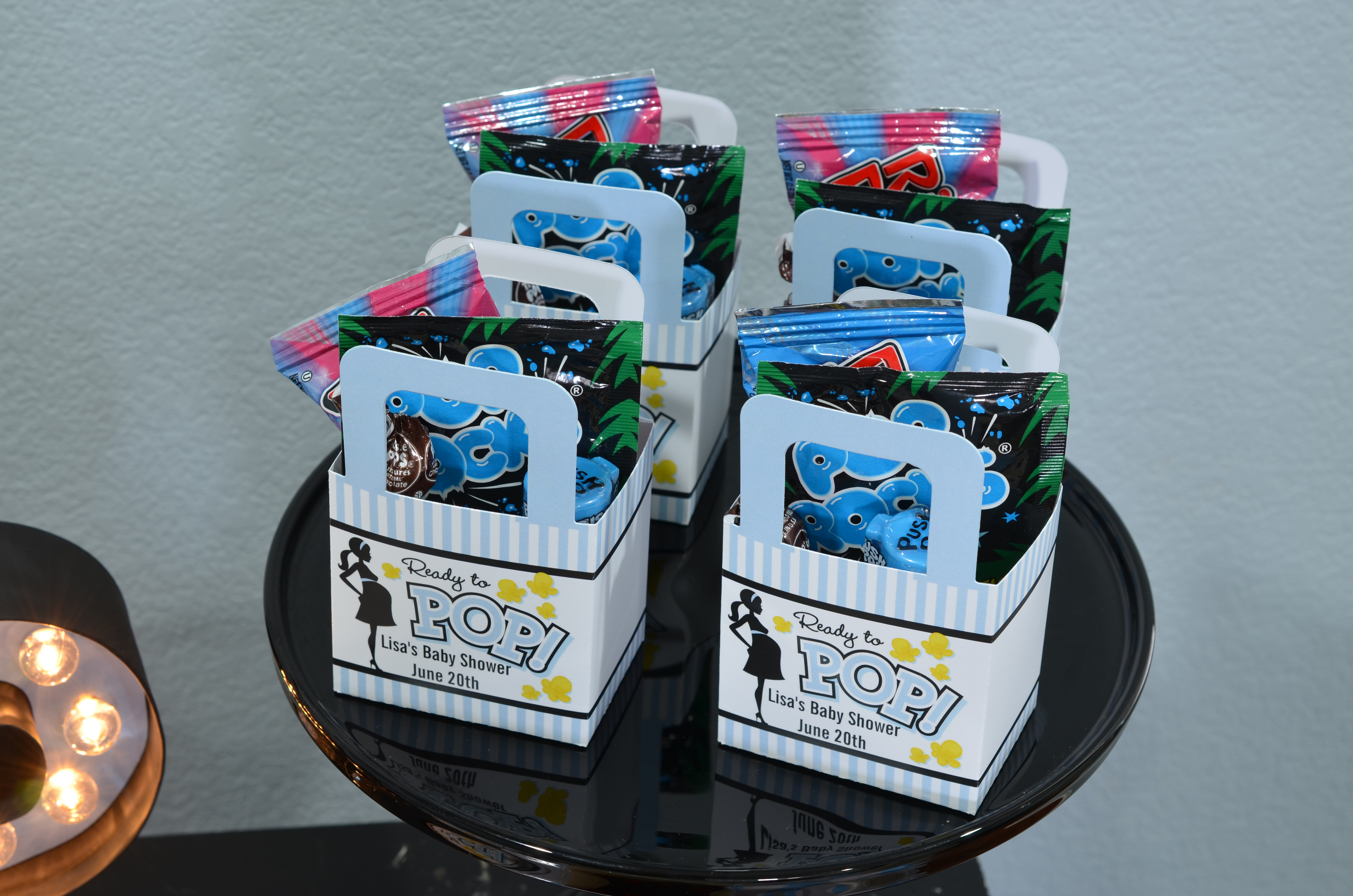 Baby Shower Favors Dollar ~ Ready to pop blue baby shower favor table candles and favors