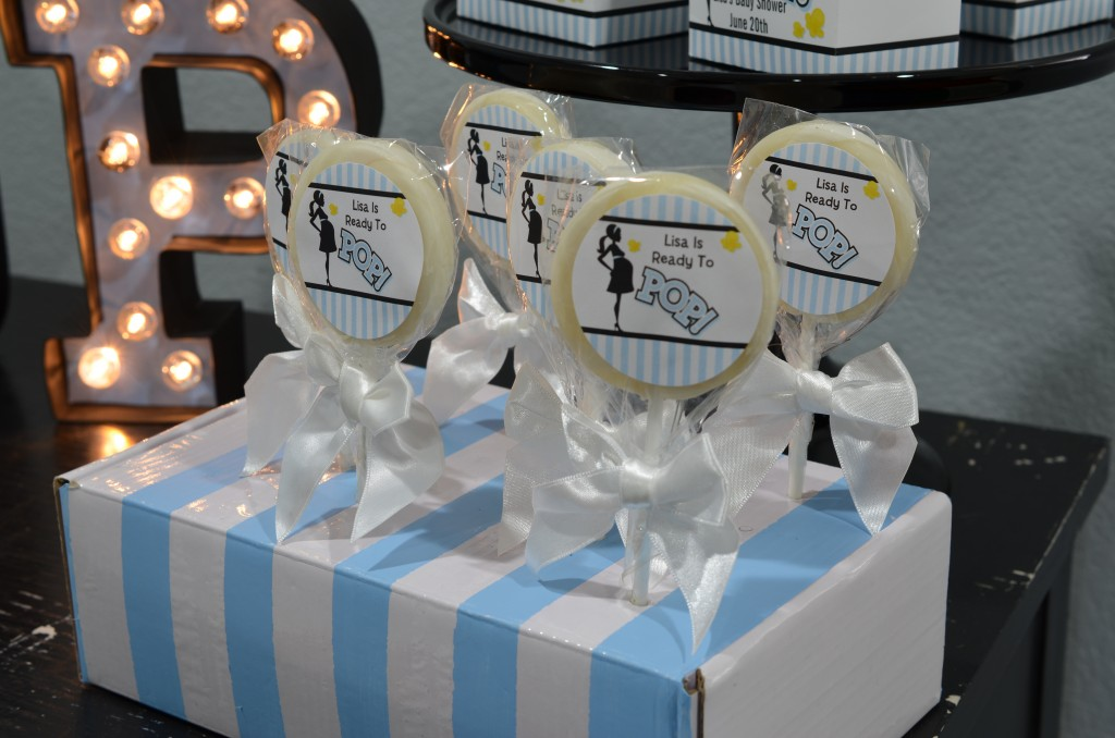 Ready To Pop Blue Lollipop Favors in custom stripe box