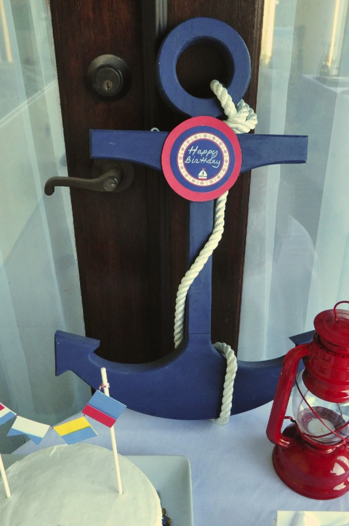 Nautical Birthday Party Anchor with Confetti