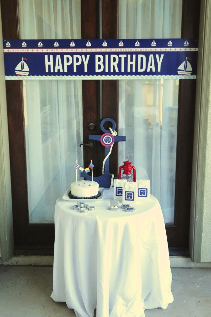 Nautical Birthday Party Banner and favor table