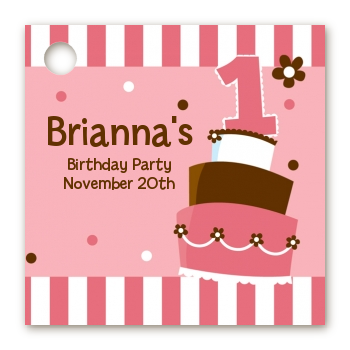 1st Birthday Topsy Turvy Pink Cake - Personalized Birthday Party Card Stock Favor Tags