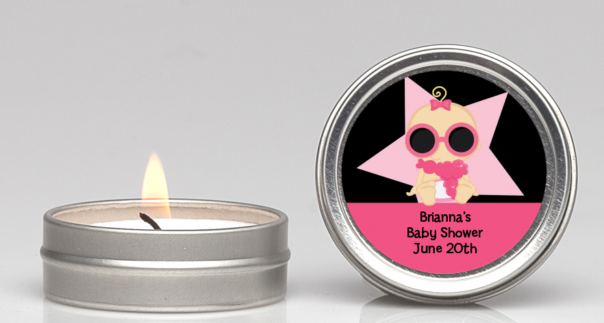 A Star Is Born Hollywood Black|Pink - Baby Shower Candle Favors Blonde Hair