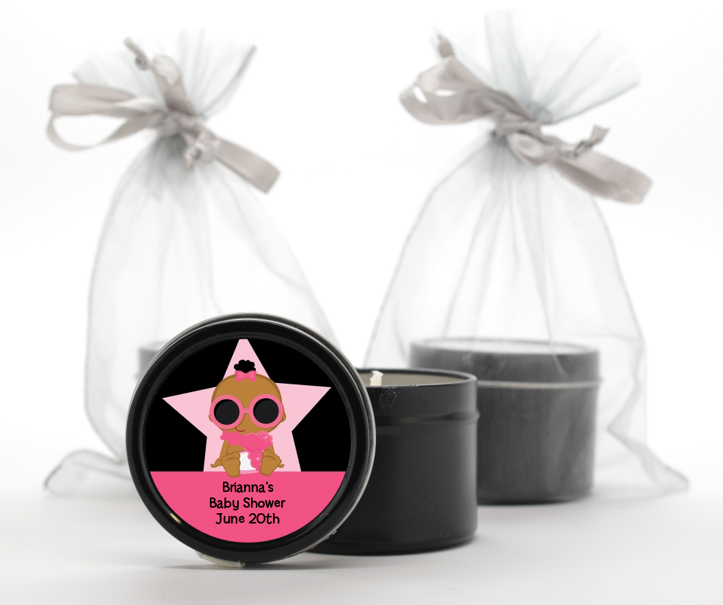 A Star Is Born Hollywood Black|Pink - Baby Shower Black Candle Tin Favors African American
