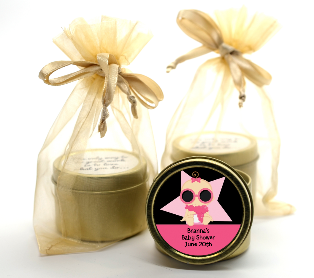 A Star Is Born Hollywood Black|Pink - Baby Shower Gold Tin Candle Favors African American