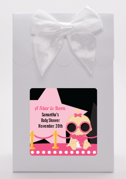 A Star Is Born Hollywood Black|Pink - Baby Shower Goodie Bags Caucasian Blonde Hair