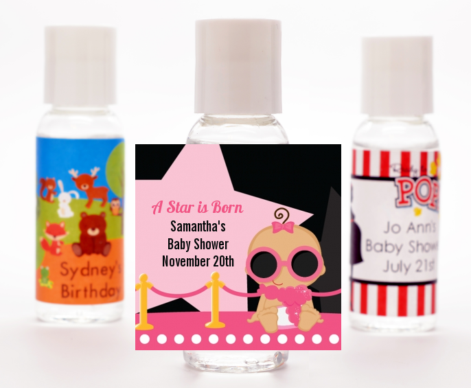 A Star Is Born Hollywood Black|Pink - Personalized Baby Shower Hand Sanitizers Favors Caucasian Blonde Hair