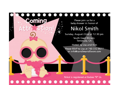 A Star Is Born Hollywood Black|Pink - Baby Shower Petite Invitations African American