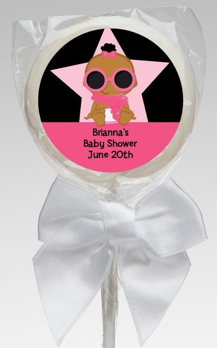 A Star Is Born Hollywood Black|Pink - Personalized Baby Shower Lollipop Favors African American