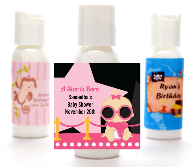 A Star Is Born Hollywood Black|Pink - Personalized Baby Shower Lotion Favors Caucasian Blonde Hair