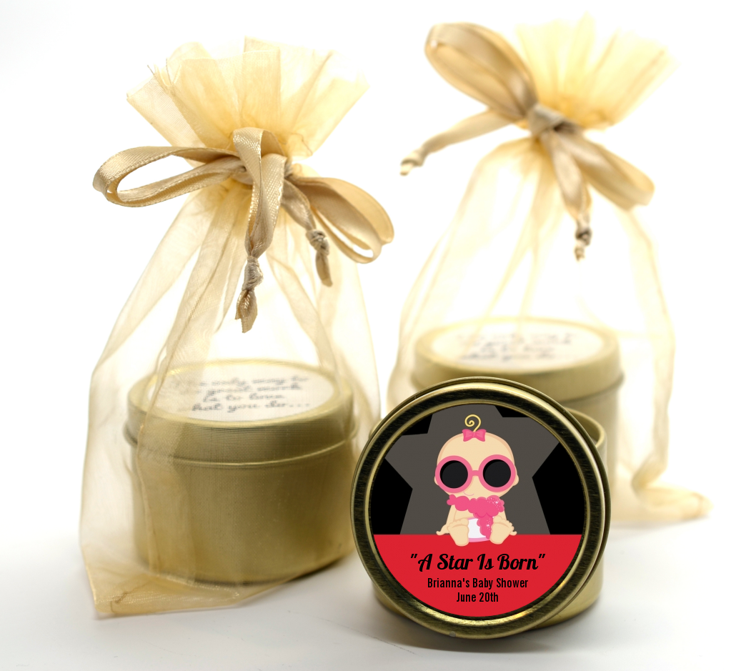 A Star Is Born Hollywood Gold Tin Candle Favors | Candles & Favors