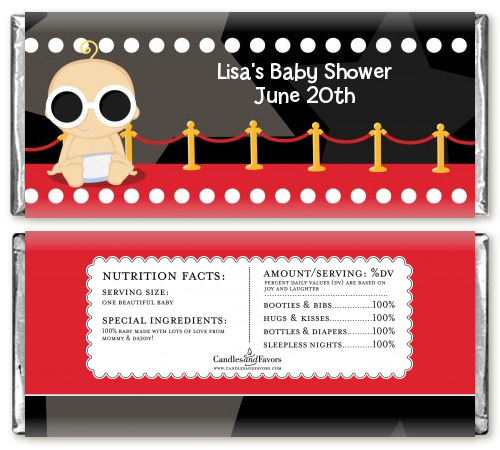 A Star Is Born Hollywood - Personalized Baby Shower Candy Bar Wrappers Caucasian