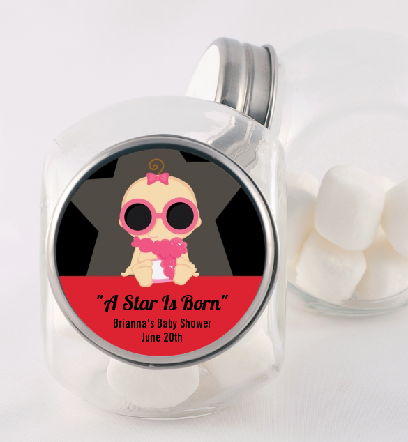 A Star Is Born Hollywood - Personalized Baby Shower Candy Jar Caucasian
