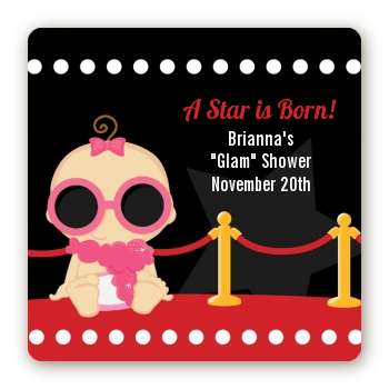 A Star Is Born Hollywood - Square Personalized Baby Shower Sticker Labels Caucasian