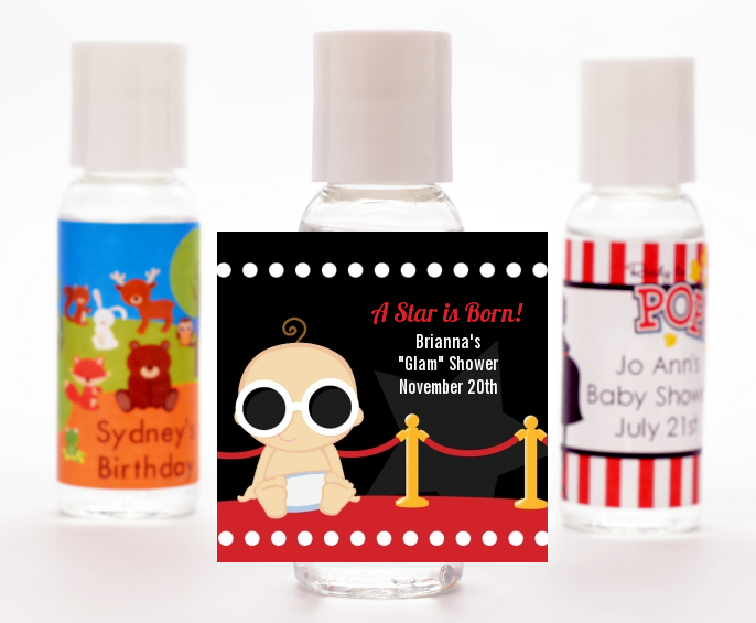 A Star Is Born Hollywood ® - Personalized Baby Shower Hand Sanitizers Favors Caucasian