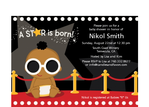 A Star Is Born Hollywood ® - Baby Shower Petite Invitations African American Boy