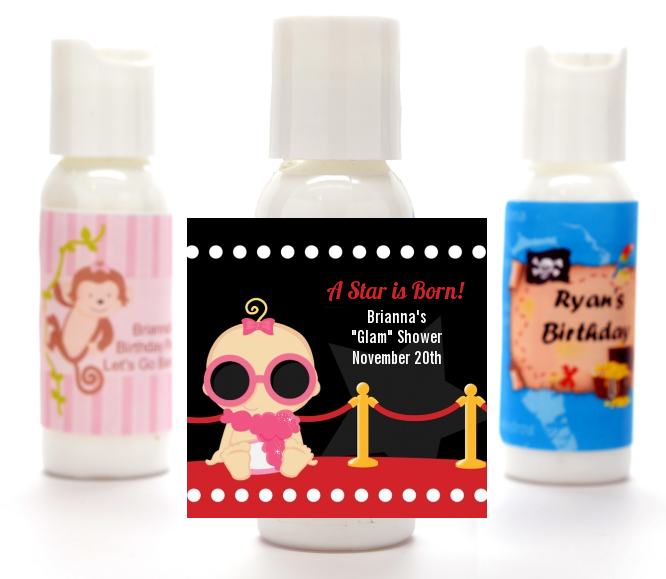 A Star Is Born Hollywood - Personalized Baby Shower Lotion Favors Caucasian