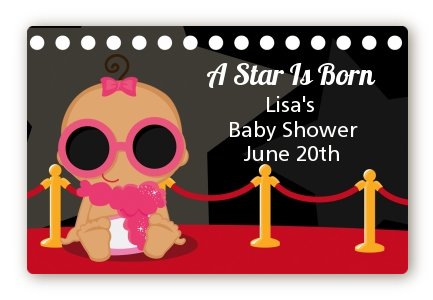 A Star Is Born Hollywood - Baby Shower Landscape Sticker/Labels Caucasian Boy