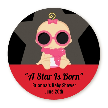 A Star Is Born Hollywood - Round Personalized Baby Shower Sticker Labels Caucasian